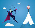 Businessman focus to hit target with bow and arrow