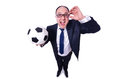 Businessman with football on white Royalty Free Stock Photo