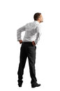 Businessman in formal wear back view of isolated on white background Royalty Free Stock Photography