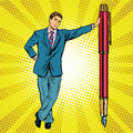 Businessman with fountain pen Royalty Free Stock Photo