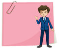 A businessman in front of the empty pink signage illustration on white background Stock Photos