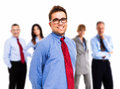 Businessman in front of his team portrait a smiling young Stock Images