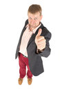 Businessman with funny view in jacket are makes a gesture Stock Images
