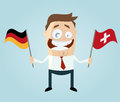Businessman with german and swiss flag illustration of a Royalty Free Stock Photos