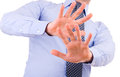 Businessman gesturing with both hands business man Stock Photo