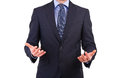 Businessman gesturing with both hands business man Stock Image