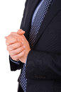 Businessman gesturing with both hands business man Royalty Free Stock Photo