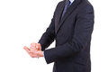 Businessman gesturing with both hands image of Royalty Free Stock Photography