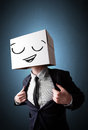 Businessman gesturing with a cardboard box on his head with smil standing and smiley face Stock Images