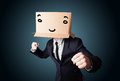 Businessman gesturing with a cardboard box on his head with smil standing and smiley face Royalty Free Stock Photo