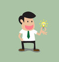 Businessman get a light bulb idea vector cartoon of Royalty Free Stock Photography