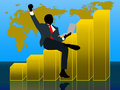 Businessman get profit with wold map background this is a illustration about a who earn a and success Royalty Free Stock Photo