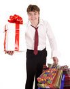 Businessman with gift box shopping. Royalty Free Stock Photo