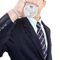 Businessman give you water for drink in studio Stock Photo