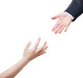 Businessman giving helping hand to poor begging needy person Royalty Free Stock Photo