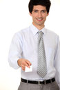 Businessman giving his card out Royalty Free Stock Photography