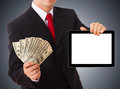 Businessman giving money cash dollars in the hands Royalty Free Stock Photo