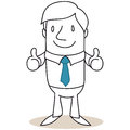 Businessman giving two thumbs up vector illustration of a monochrome cartoon character Stock Images