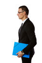 Businessman in glasses with blue folder Royalty Free Stock Photo