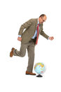 The businessman with the globe on a white background Royalty Free Stock Photography