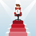 Businessman going up to success, staircase to success. Scene illuminated by a spotlight. Royalty Free Stock Photo