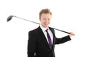 Businessman with golf club Royalty Free Stock Photo