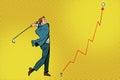 Businessman Golf shot, profit graph