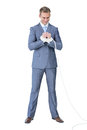 A businessman with hand attach on white background Royalty Free Stock Photos