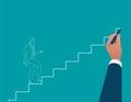 Businessman hand drawing career ladder. Concept business illustr