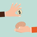 Businessman hand exchanging human brain and money.