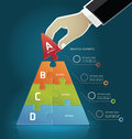 Businessman hand making a pyramid diagram business strategy puzzle options Royalty Free Stock Image