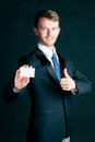 Businessman hand over business card man or manager in suit empty to socialize Stock Photos
