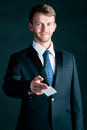 Businessman hand over business card man or manager in suit empty to socialize Stock Photo