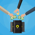 Businessman hand picking up money into oil barrel gold coin and dollar cash investment concept vector illustration in flat style Royalty Free Stock Photos