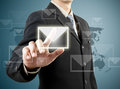 Businessman hand pushing mail sign Royalty Free Stock Images