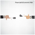 Businessman hand shooting financial or economic war concept business idea vector illustration Stock Images