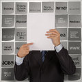 Businessman hand show blank book of business stragtegy and sticky note background Stock Images