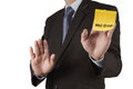 Businessman hand show well done words on sticky note with white Royalty Free Stock Photo