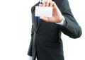 Businessman hand showing business card or note paper isolate Royalty Free Stock Photo