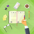 Businessman Hand Write Pen Notebook Desk Flat Royalty Free Stock Photo