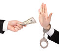 Businessman hands one gives money another refuses Royalty Free Stock Image