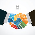Businessman handshake jigsaw banner infographic template with concept vector illustration Stock Images