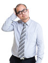 Businessman hard to make decision isolated on white Stock Images