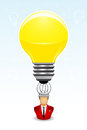 Businessman has a bright idea vector illustration of with lightbulb above his head Stock Image