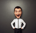 Businessman have the big head and very happy Royalty Free Stock Image