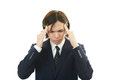 Businessman having a headache holding his head suffering from Royalty Free Stock Photography