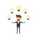 Businessman having a lot of idea. Light bulbs around man`s head concept of creative to success