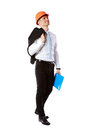 Businessman in helmet with blue folder happy over white background Royalty Free Stock Images