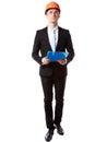 Businessman in helmet holding blue folder full length portrait of a confident over white background Stock Photography
