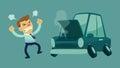Businessman and his broken car